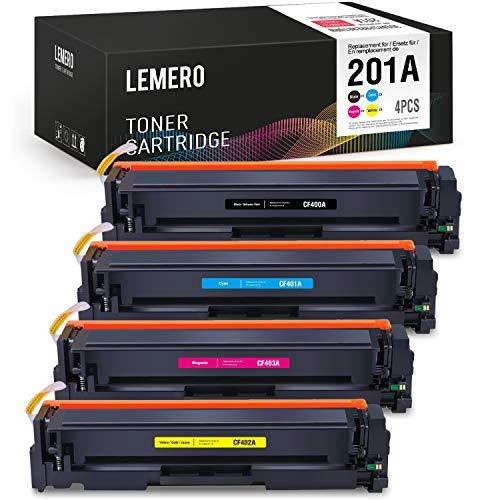 LEMERO 4 Toner Compatible para HP 201A CF400A CF401A CF402A CF403A para HP Color Laserjet Pro M250 M252 M252N M252DN M252DW M270 Series MFP M274N M274DN M277N M277DW