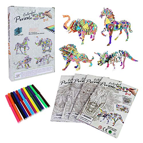 Arts and Crafts for Grils, 3D Coloring Puzzle for Kids Ages 6-12, Art Supplies Sets for Kids, Crafts Christmas Gifts Toys for Teenage Girls(4 Pack)