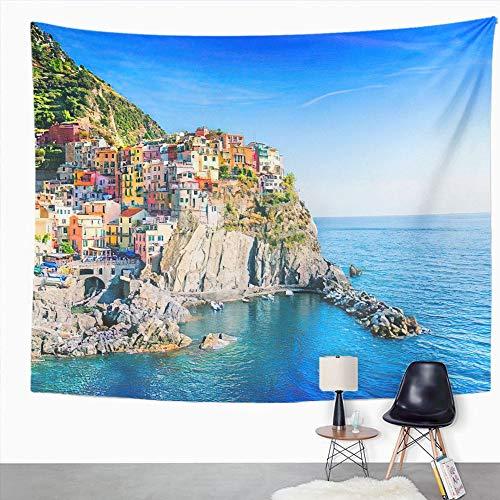 Y·JIANG Tapiz de paisaje urbano de Italia, vista sobre Manarola Cinque Terre, tapiz decorativo grande, manta para colgar en la pared para sala de estar, dormitorio, 152,4 x 127 cm