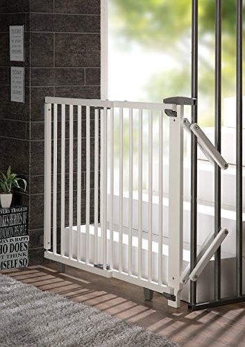 Geuther - Treppenschutzgitter ausziehbar 2733+, für Kinder/Hunde, Schrauben/Klemmen am Geländer, verstellbar, Holz, weiß, 67 - 107 cm, TÜV geprüft - 8