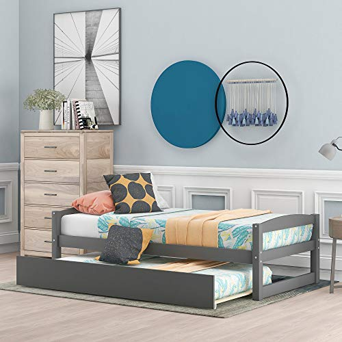Wood Daybed with a Trundle, Trundle Daybed Twin Size, Standard Twin Bed Frame, No Box Spring Required (Grey)