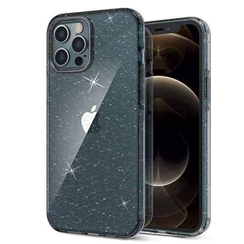 """ORNARTO Coque pour iPhone 12 Pro Max 6,7, Paillette Bling Rugged Antichoc Hybrid PC+TPU Housse de Protection pour iPhone 12 Pro Max (2020) 6,7""""-Noir"""