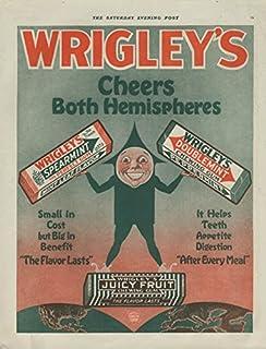 Cheers Both Hemispheres Wrigley's Spearmint Doublemint Juicy Fruit Gum ad 1918