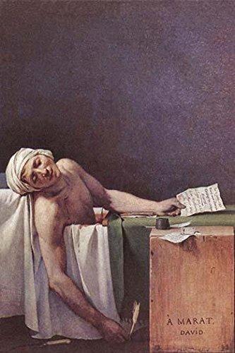 Marat Sade in seiner Badewanne nach seiner Ermündung von Charlotte Corday He is slumped over in his bath which was filled with Haferflocken Posterdruck von Jacques Louis David (45,7 x 61 cm)