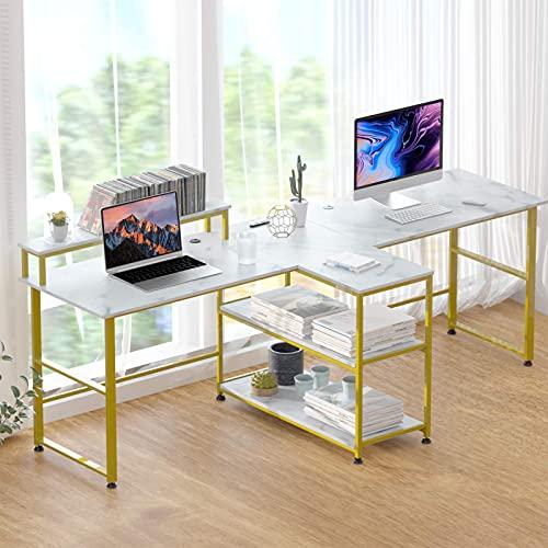 Houssem Escritorio grande para el hogar y la oficina, para 2 personas, moderno, con estante, mesa de oficina, mesa de trabajo, mesa de mármol blanco, tablero de partículas con marco de metal dorado