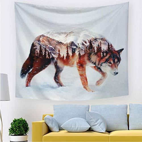 Happves Tapiz Paño de Playa para Hombres y Mujeres Elegante decoración de la habitación Abstract Snow Mountain Wolf Picnic Beach Sheet Table para Colgar en la pared-150x200cm