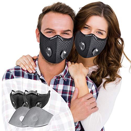 SOKERDY Sports Workout Face Masks 2Piece with 4PCS Filters Net Breathable & Comfortable Dust Masks Washable Reusable Masks Balaclava Mask Black