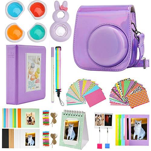 Cpano Mini 11 Paquetes de Accesorios de cámara para FujiFilm Instax Mini 11 con Estuche de cámara/álbum de Libro/Selfie len/Marcos para Colgar en la Pared/Pegatinas/lápiz(13 en 1 (Láser púrpura)