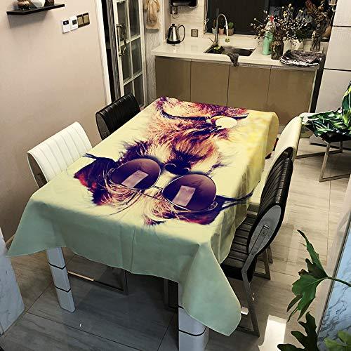 Oukeep Mantel Impreso De Poliéster De La Serie Moderna para Perros 3D Impermeable, A Prueba De Aceite Y Resistente A La Suciedad Mantel para Mesa De Comedor Hogar Restaurante Hotel Mantel De Té