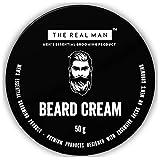 Crema hidratante para barba The Real Man, 50 g. Con extracto de aloe vera y aceite de coco virgen. PAQUETE DE 1 UNIDAD.