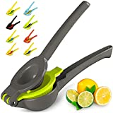 Top Rated Zulay Premium Quality Metal Lemon Lime Squeezer - Manual Citrus Press Juicer (Gray and Lime Punch)