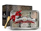 The Natural Sea Salt Sampler - 6 Resuable Tins, Bamboo Spoon - Perfect Gift - Cyprus Flake Pyramid Salt, French Grey, Himalayan Pink, Portuguese, Sicilian, and New Zealand Sea Salts - 1/2 oz each