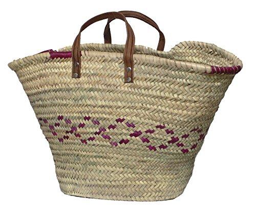 Handgevlochten boodschappen-/bad-/Ibiza mand strandtas van palmvezel.