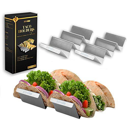 4 packs Taco Holders Stainless Steel – Taco Stand 4 packs – Taco Racks with Handles – SIH Taco Trays, Each Rack Holds Up To 3 Tacos, Grill Safe, Microwave Safe for Baking, Food Safe, Dishwasher Safe