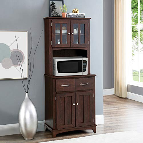 Home Source Espresso Microwave Stand with Top and Bottom Cabinets