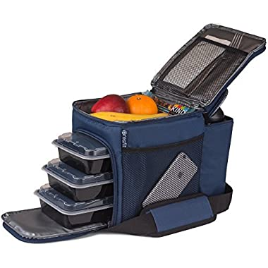 Meal Prep Lunch Bag - Transport 3 Meals, Snacks, Liquids and More - Includes Meal Prep Containers - Navy Blue
