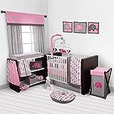 Bacati - Elephants Pink/Grey 10-Piece Nursery in a Bag Girls Baby Nursery Crib Bedding Set with Bumper Pad