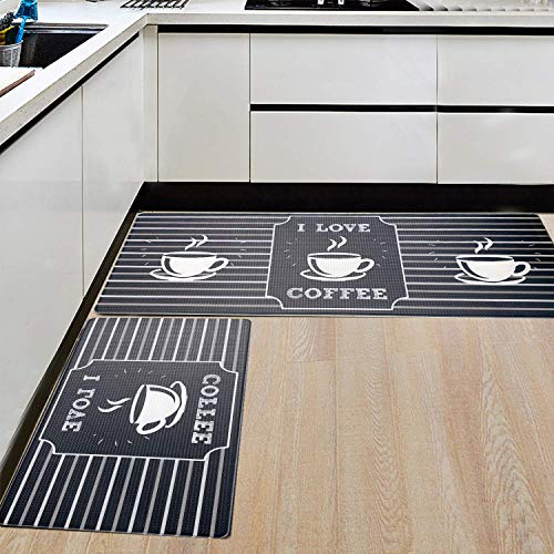 AGELMAT 2PCS Kitchen Mat, Super Cushioned Anti-Fatigue Kitchen Rugs and Mats Non-Slip Ergonomic Comfort Foam Carpet Set,Water Oil Proof Standing Rug for Laundry,Office,Sink
