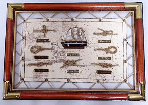 linoows Knotentafel auf Segeltuch, Seegelschiff mit Seemannsknoten, Englisch