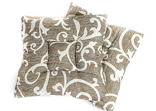 E&A - Cojín de asiento interior y exterior de algodón para oficina, jardín, cocina, salón, 32 x 32 x 5 cm (juego de 4), color marrón