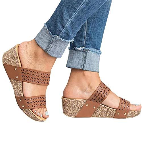 Gibobby Platform Sandals Espadrille Women's Pacific High Tide Toepost Sandals – Ladies Platform Flip Flops with Orthotic Arch Support Brown