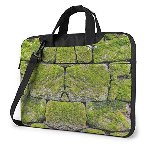 Laptop Shoulder Bag - Moss Stone Pavement Printed Shockproof Waterproof Laptop Shoulder Backpack Bag Briefcase 14 Inch