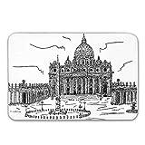 AoLismini Alfombra de Entrada de Goma Antideslizante, Dibujada a Mano Basilica di San Pietro Vaticano Roma Italia Arquitectura histórica Europea Felpudo para Puerta Principal