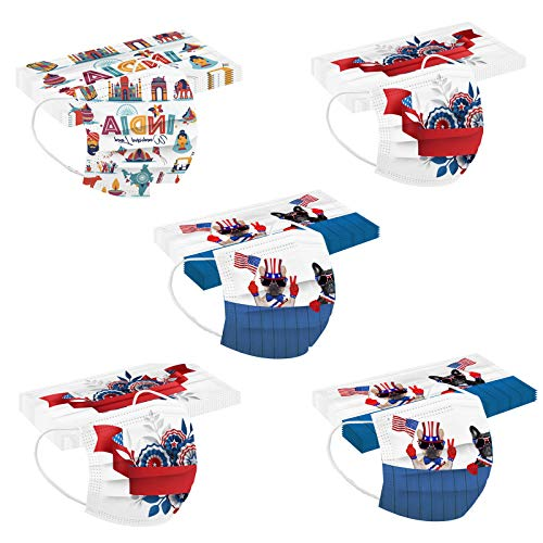 50 Pcs Independence Day Face Cover for Adults Coronɑvịrus Protectịon Holiday American Flag Mask Breathable 3 Ply (Independence Day)