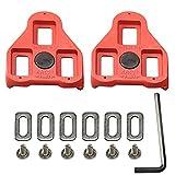Calas para Pedales Compatibles con Look Delta Peloton (9 ° de Libertad Angular) Calas para Bicicletas de Ciclismo, Rojas (1-Pack)