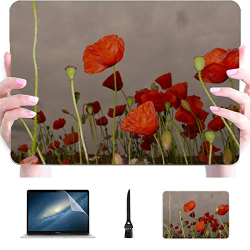 Laptop Pro Accessories Red Poppy Klatschmohn Meadow Wild Flowers Plastic Hard Shell Compatible Mac MacBook Pro 13inch Case Protection Accessories for MacBook with Mouse Pad