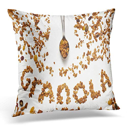 Emvency Throw Pillow Cover Almond Granola Word Made of Muesli on White Spoon Decorative Pillow Case Home Decor Square 18