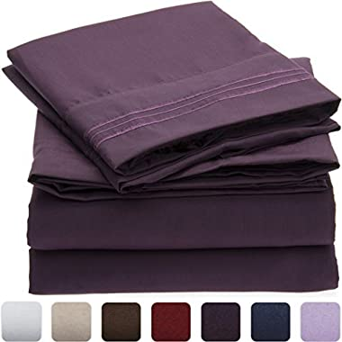 Mellanni Bed Sheet Set - Brushed Microfiber 1800 Bedding - Wrinkle, Fade, Stain Resistant - Hypoallergenic - 4 Piece (King, Purple)