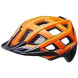 KED Crom XL - Casco para bicicleta (60-64 cm, incluye cinta de seguridad RennMaxe, para patinaje, MTB BMX y jóvenes), color naranja y negro mate