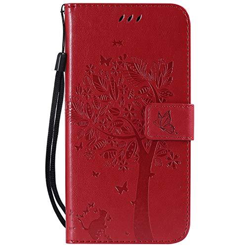 Snow Color Coque [iPhone XS Max] Portefeuille, en Cuir Flip Case pour Bumper Protecteur Magnétique Fente Carte Housse Cover Coque pour Apple iPhone XS Max - COKT010134 Rouge