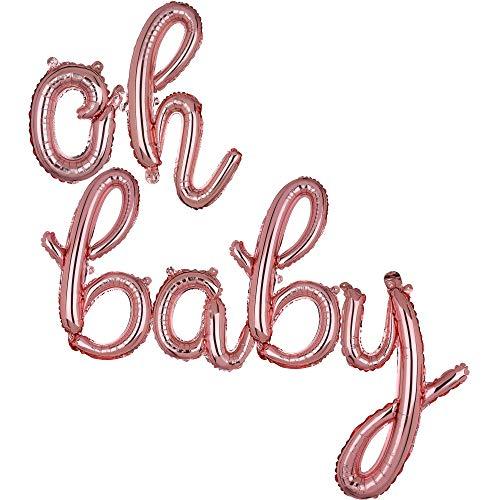 OH Baby-Luftballons in Rotgold, kursiver Buchstabenfolie, Mylar-Banner, Geburtstagsparty-Dekoration, klein, 40,6 cm