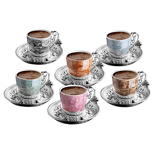 Fancy Turkish Coffee Cup Saucers Set of 6, Porcelain 4 oz. Turkish Coffee Set, Espresso Cup Set, Greek Coffee, Demitasse Coffee Mug Women, Men, Adults, Housewarming, Birthday, Wedding (Multi Silver)