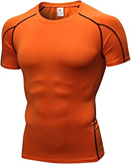 Pingtr Men's Base Layers Compression T-Shirts, Man Workout Leggings Fitness Sports Running Yoga Athletic Shirt Top Blouse