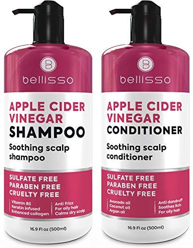 Apple Cider Vinegar Shampoo and Conditioner Set - Natural Anti Dandruff Sulfate Free...