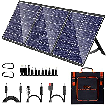 Portable Solar Panel 60W Foldable Solar Panel Charger Kit for Jackery Power Station Goal Zero Yeti Power Station uaoki Portable Generator USB Devices with USB and DC Port
