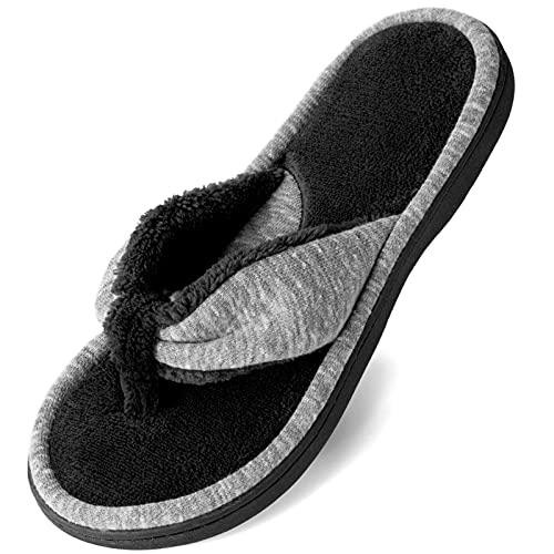 Wishcotton Women's Adjustable Memory Foam Flip Flop Slippers Cozy Lightweight Open Toe House Shoes, Grey, 7-8 Women
