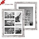 Q.Hou 11x14 Picture Frames Wood Patten Distressed White Set of 2, Each Frame with 2 Mats,Display 8x10 or Five 4x6 Photos with Mat & 11x14 Picture Without Mat for Wall Mount (QH-PF11X14-RW)