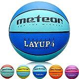 meteor Kinder Basketball Layup Größe #4 Jugend Basketball ideal auf die Kinder-hände 5-10 Jahre idealer Mini Basketball für Ausbildung weicher Outdoor mit griffiger Oberfläche (Größe #4, Blau)