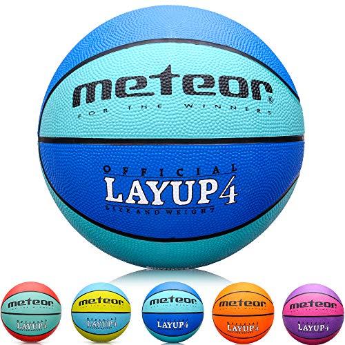 meteor® Kinder Basketball Layup Größe #4 Jugend Basketball ideal auf die Kinder-hände 5-10 Jahre idealer Mini Basketball für Ausbildung weicher Outdoor mit griffiger Oberfläche (Größe #4, Blau)