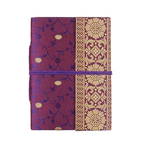 Taccuino medio in sari 11cm x 16cm - Viola - Fogli senza righe in carta riciclata - Taccuino e diario tascabile - Articolo di cartoleria da regalo per uomo, donna e studenti. Artigianato indiano