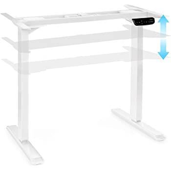 Oneconcept Multidesk Escritorio Regulable en Altura - Escritorio de pie y Sentado, Bastidor de Mesa, Mando eléctrico, Regulable en Altura: 62-128 cm, Regulable en Anchura: 110-170 cm, Blanco