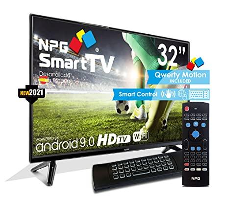 """NPG 430L32HQ 2021 – 32"""" HD Smart TV y Mando Exclusivo con Teclado QWERTY y Función Motion, Android 9.0, Procesador Quad Core, WiFi, DVB-T2 C, PVR, Screen Mirroning, Smart TV multilenguaje."""