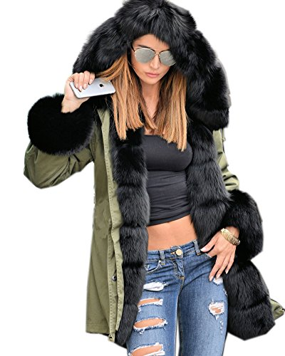 Roiii-Frauen-warme Winter-Mantel-Haube Parka-Überzieher-Faux-Pelz-Jacken-Outwear (48, Armeegrün 001)