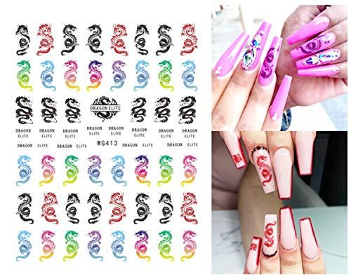 3D Nagel Aufkleber Black Snake Multicolor Dragon Schmetterling Nägel Kunst Aufkleber Design Transfer Nagel Aufkleber DIY Nail Art Dekorationen