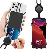 Universell Handy Umhängetasche mit Kartenfach, Elastisch Handyhülle mit Band Kartenhülle, Handy Trageband Kompatibel mit iPhone 12 Pro Max Mini 11 Pro Max X XR XS 8 7 Plus Samsung Huawei - Schwarz