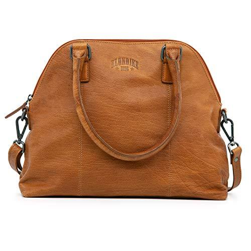 Klondike Ella Handtasche Damen aus Leder, Ledertasche Schultertasche Damentasche, Lederhandtasche Henkeltasche, Cognac